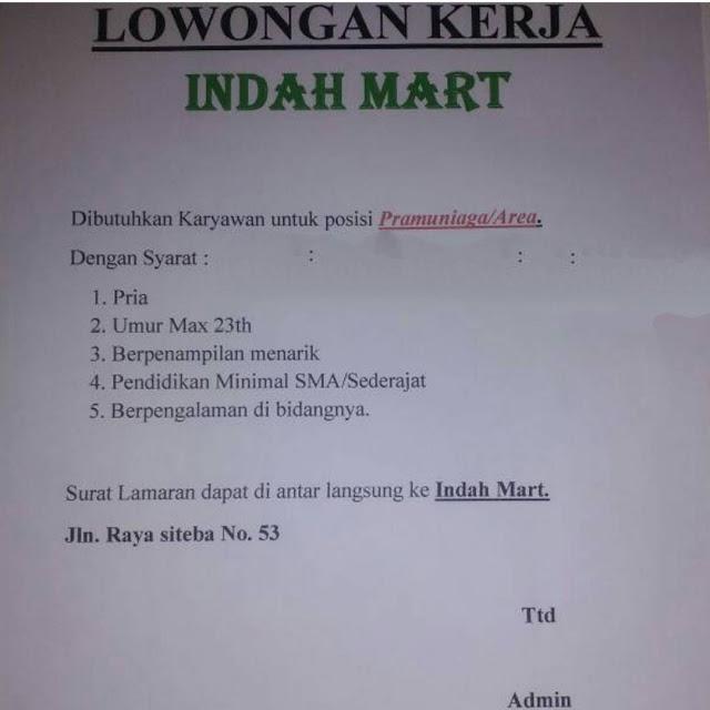 Lowongan Kerja Padang: Indah Mart – Posisi Pramuniaga April 2017