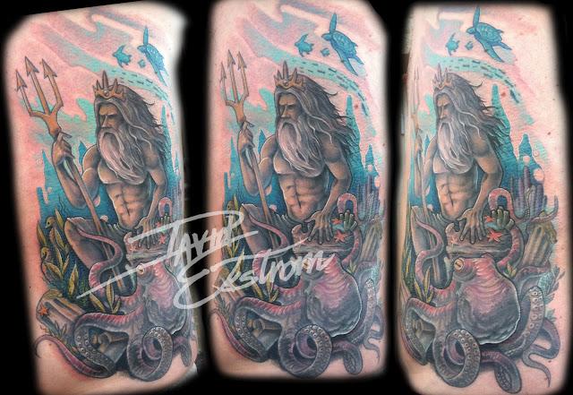 Nautical Tattoo Poseidon And Ship: Tattoos & Art By: DAVID EKSTROM: Nautical/ Ocean/ Sea Life