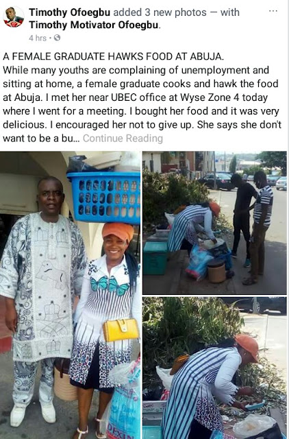 Meet female graduate who hawks food in Abuja (photos)