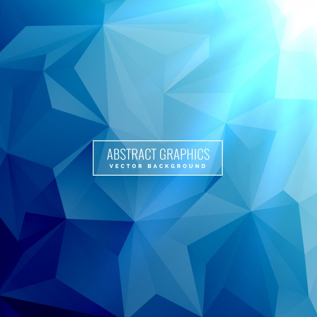 Abstract blue background with low poly triangle shapes Free Vector