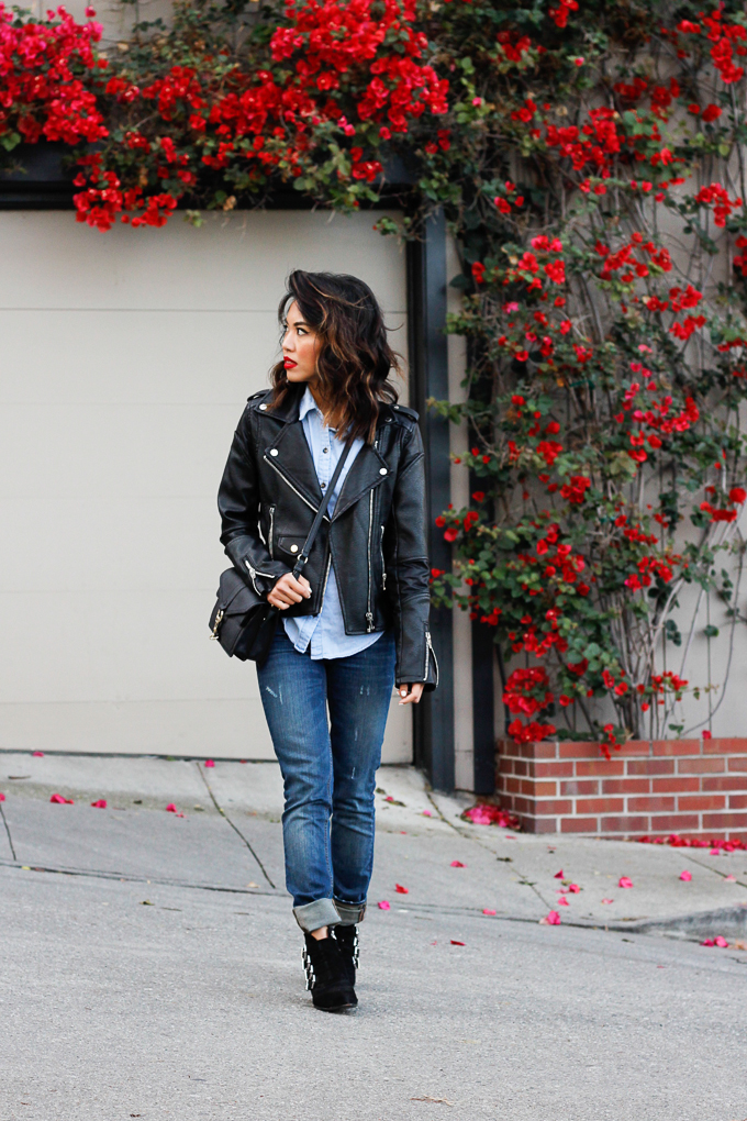 how to style denim and leather