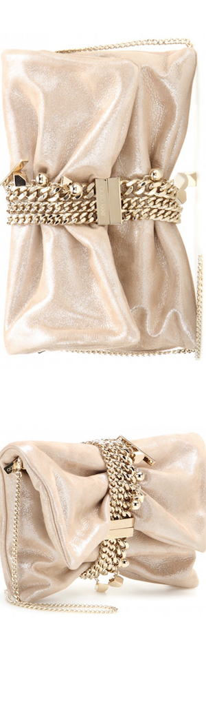 Jimmy Choo Chandra Metallic Suede Clutch Bag, Sand