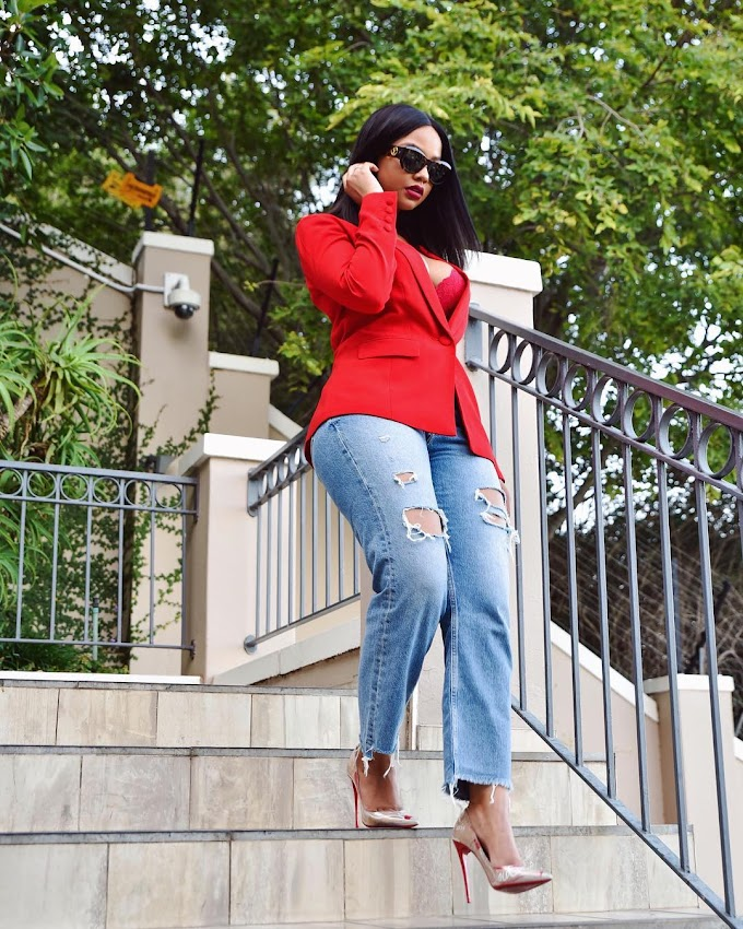 3 Ways You Can Pair Your Denim With A Red Jacket - Featuring Mihlali Ndamase