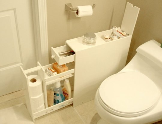 Tuck a skinny shelf into any unused bathroom space