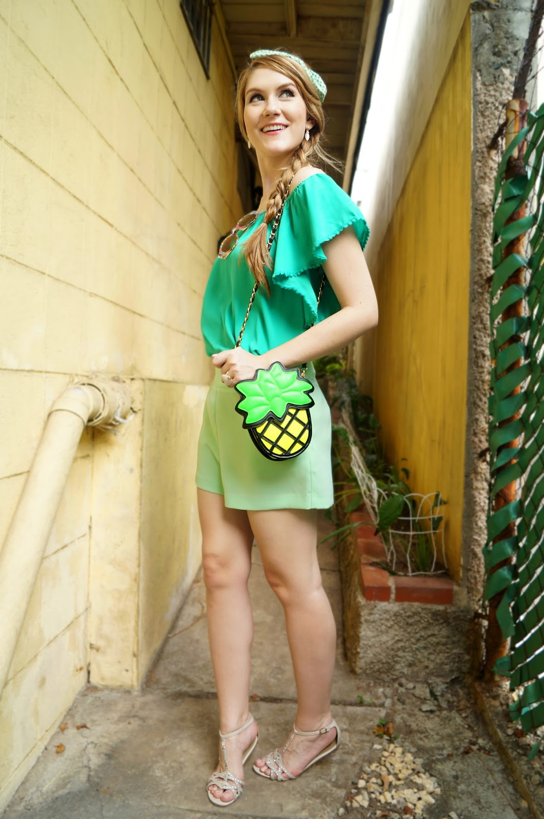 Click through for more ideas on how to wear green shorts!