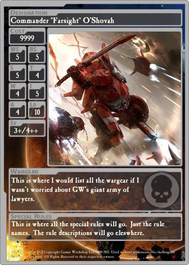 Kris Wall Minis Warhammer 40k Unit Cards