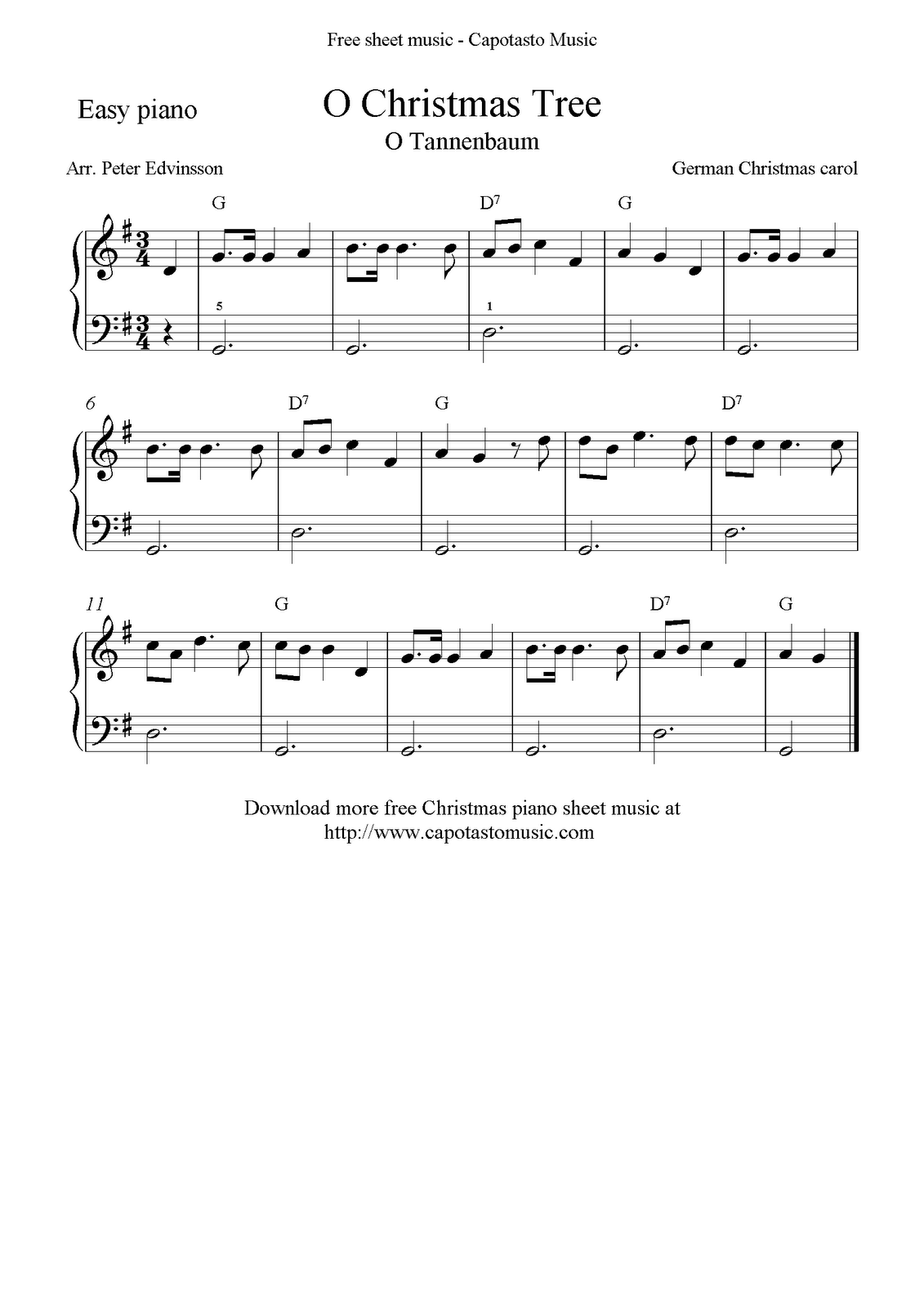 free christmas sheet music for easy piano solo o christmas tree - Free Christmas Piano Sheet Music