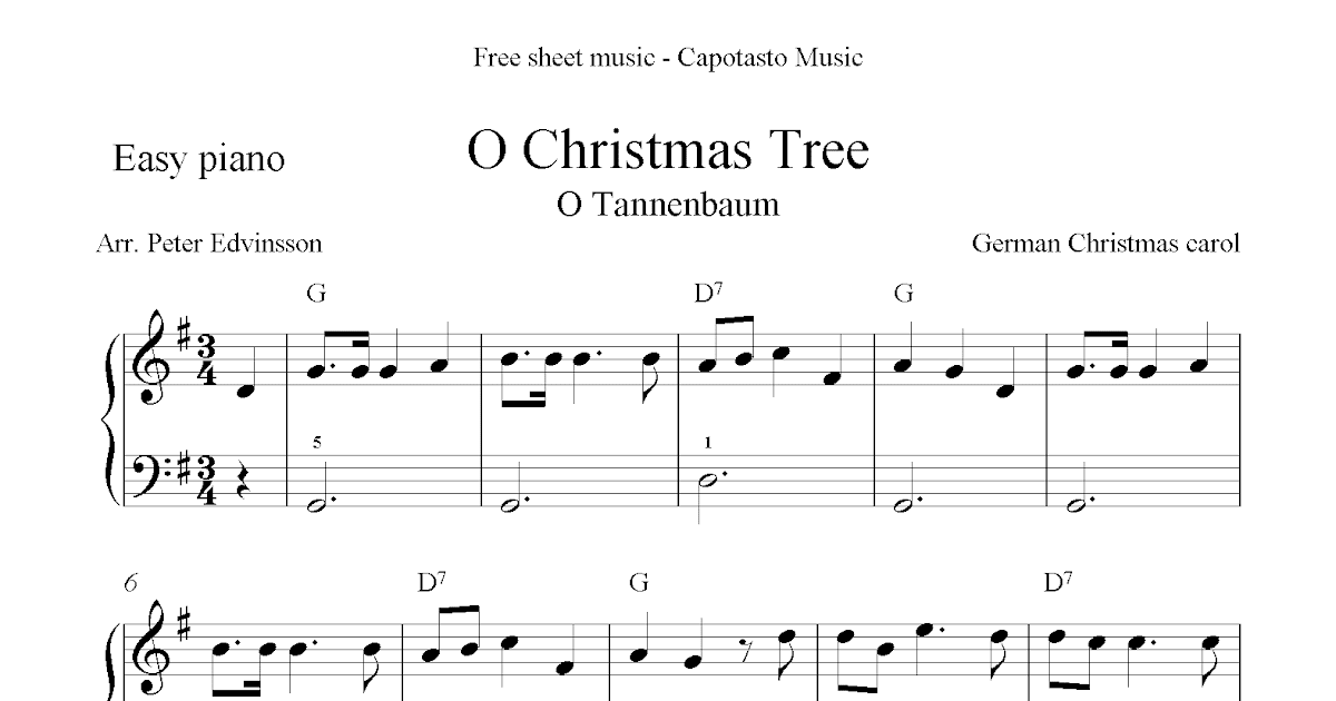 Free Christmas Sheet Music For Easy Piano Solo, O