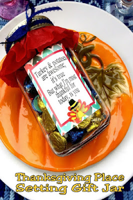 Wow your guests and tell them how much you are thankful for them this Thanksgiving with this sweet gift idea you can use at their Thanksgiving table place setting. You'll be the best friend an most amazing hostess with this quick project.#thanksgivingtable #thanksgivinggift #hostessgift #placesetting #candyjar
