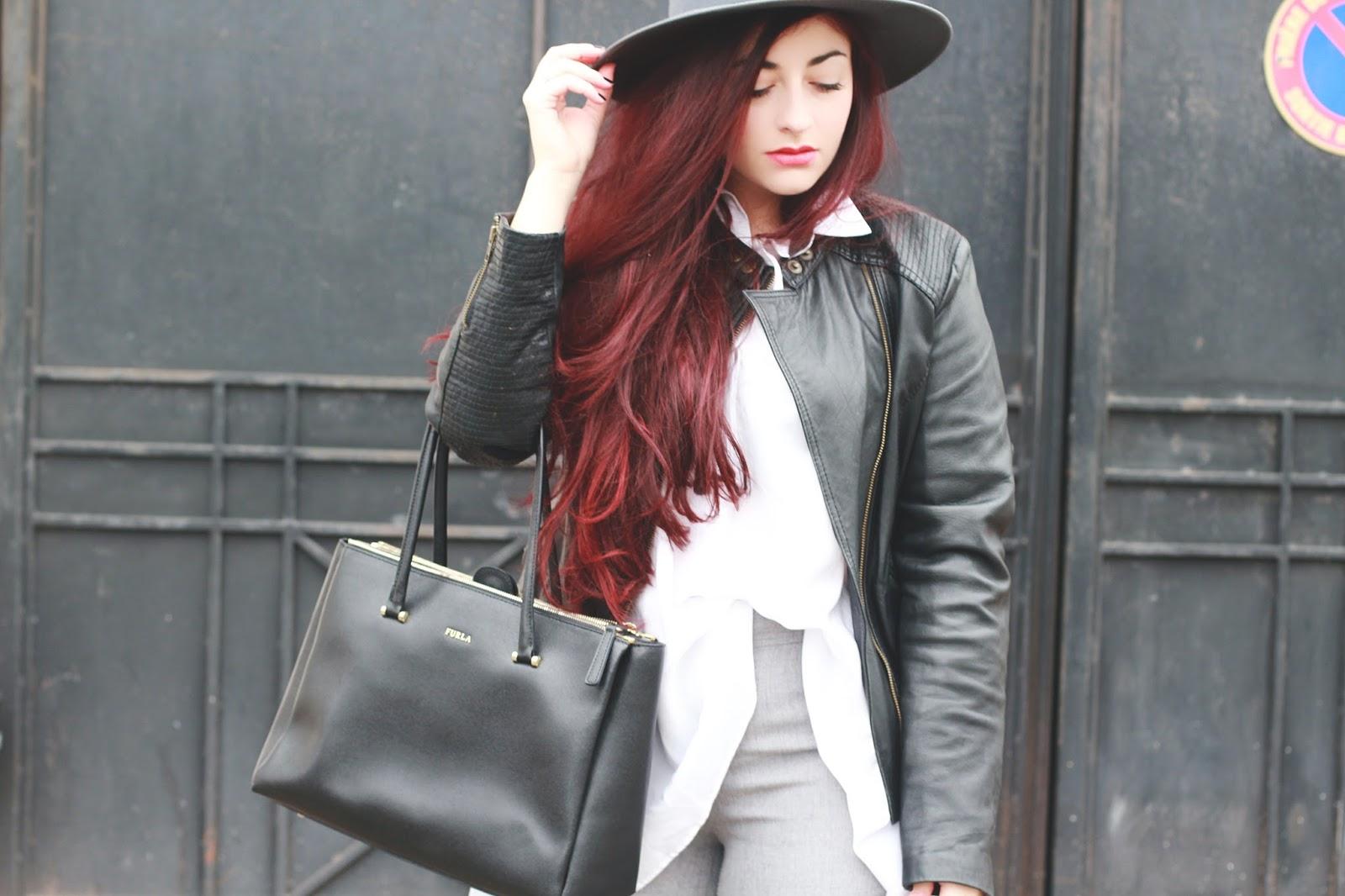 pantalon flare gris & chemise longue