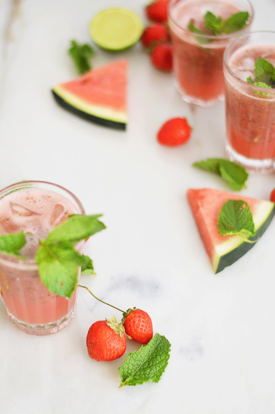 Watermelon, Strawberry and Lime Juice  | https://oandrajos.blogspot.com