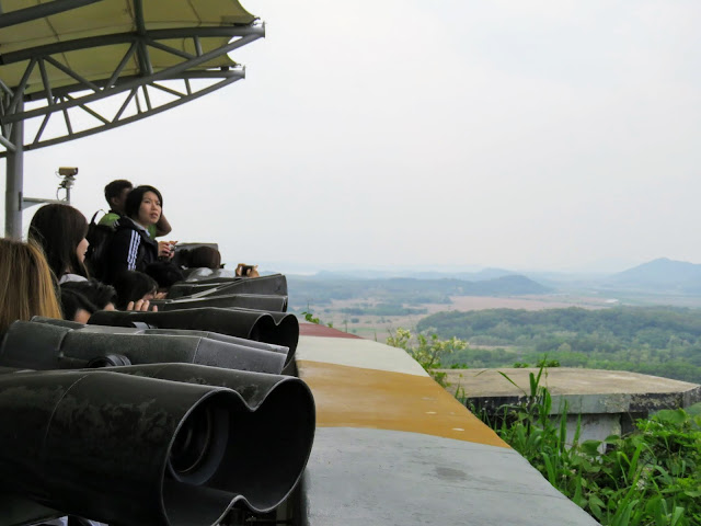 Binoculars looking into North Korea from Odusan Unification Observatory in the DMZ in South Korea