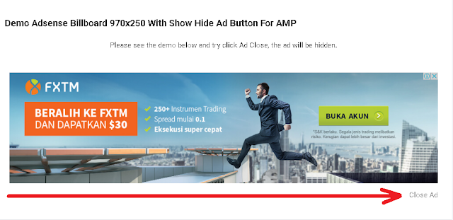 Create Adsense Billboard 970x250 Ad Slot With Show Hide Ad Button For AMP