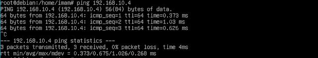 Test konektivitas dari PC server ke PC Client