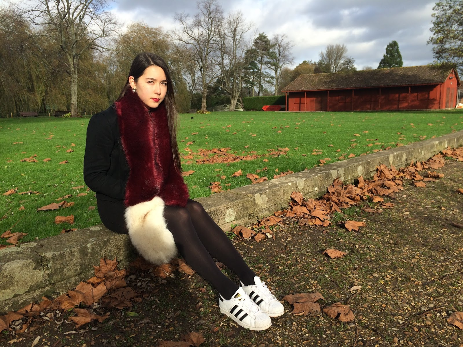 OOTD, street style outfit post, look, fashion blogger, fur stole, adidas superstars