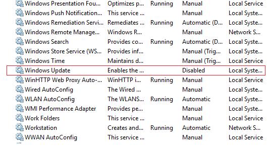 services menu in windows update