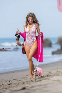 Rachel McCord In Swimsuit seen on the beach with her dog 030 ~ Celebs.in Exclusive