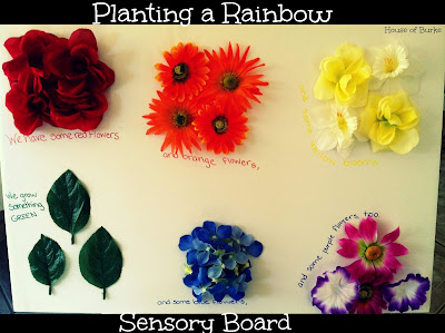 Planting a rainbow sensory board from House of Burke
