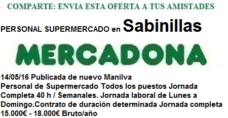 Oferta de empleo Mercadona Manilva, Málaga, Sabinillas