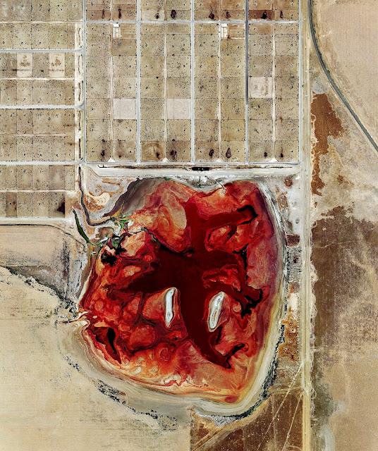 Satellite image of the effluent pond at Coronado Feeders, Dalhart, Texas (2013) Photo enhancements by Mishka Henner
