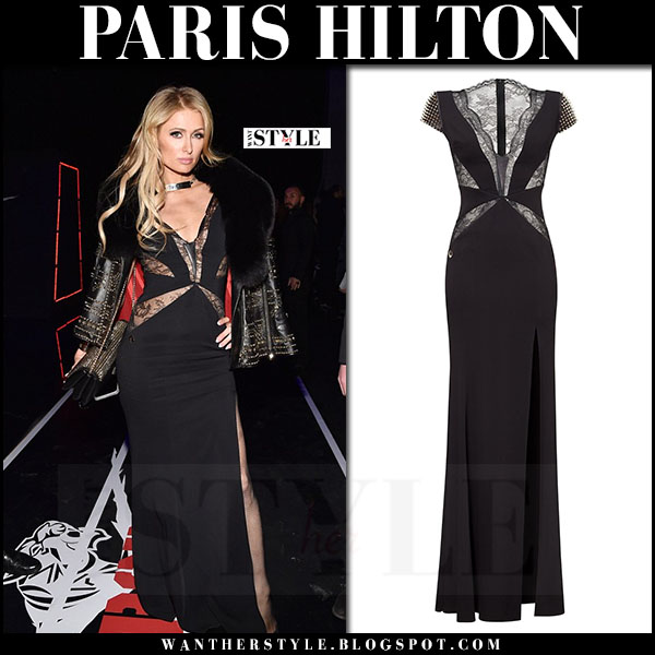 Paris Hilton in black lace dress at Philipp Plein show what she wore