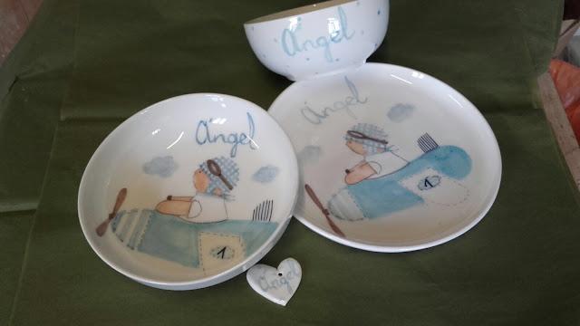 vajillas infantiles personalizadas con nombre artesanales