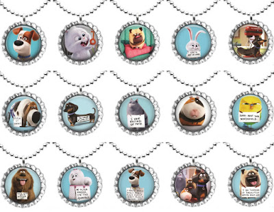 The Secret Life of Pets Bottle Cap Necklaces pack of 15 party favors