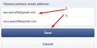 facebook email id changing