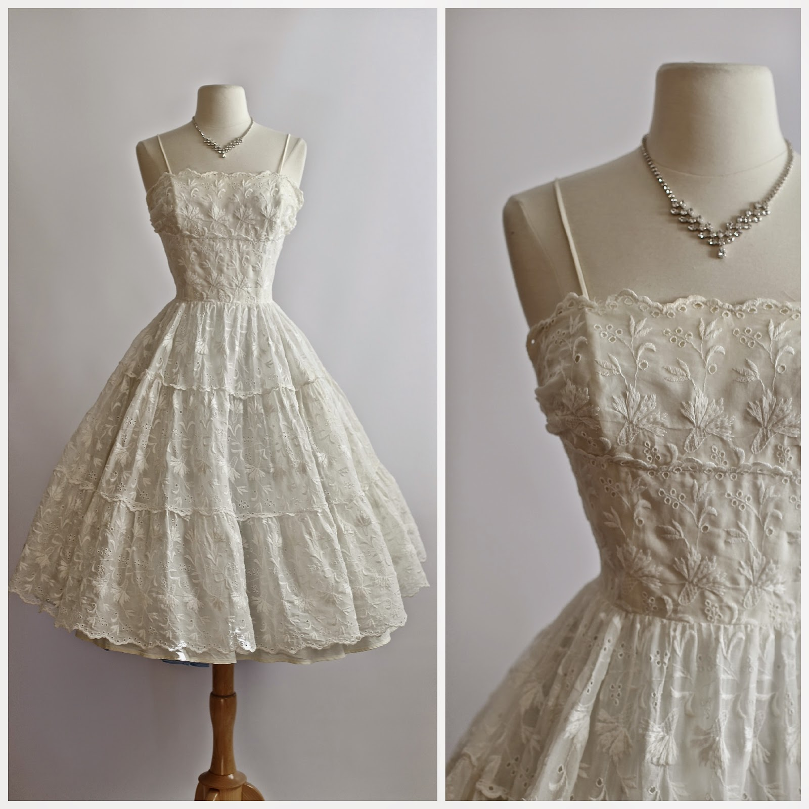 1950 S Wedding Dress In Embroidered Cotton Eyelet Available The Bridal Salon And Our Etsy