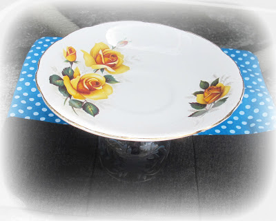 image cupcake stand vintage colclough saucer yellow roses full bloom