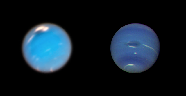 This composite picture shows images of storms on Neptune from the Hubble Space Telescope (left) and the Voyager 2 spacecraft (right). The Hubble Wide Field Camera 3 image of Neptune, taken in Sept. and Nov. 2018, shows a new dark storm (top center). In the Voyager image, a storm known as the Great Dark Spot (GDS) is seen at the center. It is about 13,000 km by 6,600 km in size — as large along its longer dimension as the Earth. The white clouds seen hovering in the vicinity of the storms are higher in altitude than the dark material. Credit: NASA/ESA/GSFC/JPL.
