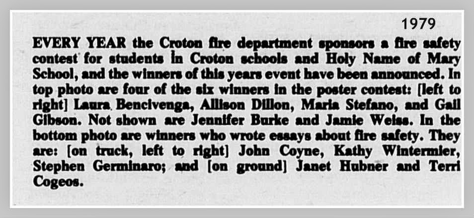 EverythingCroton: WINNERS OF THE 1979 CROTON FIRE