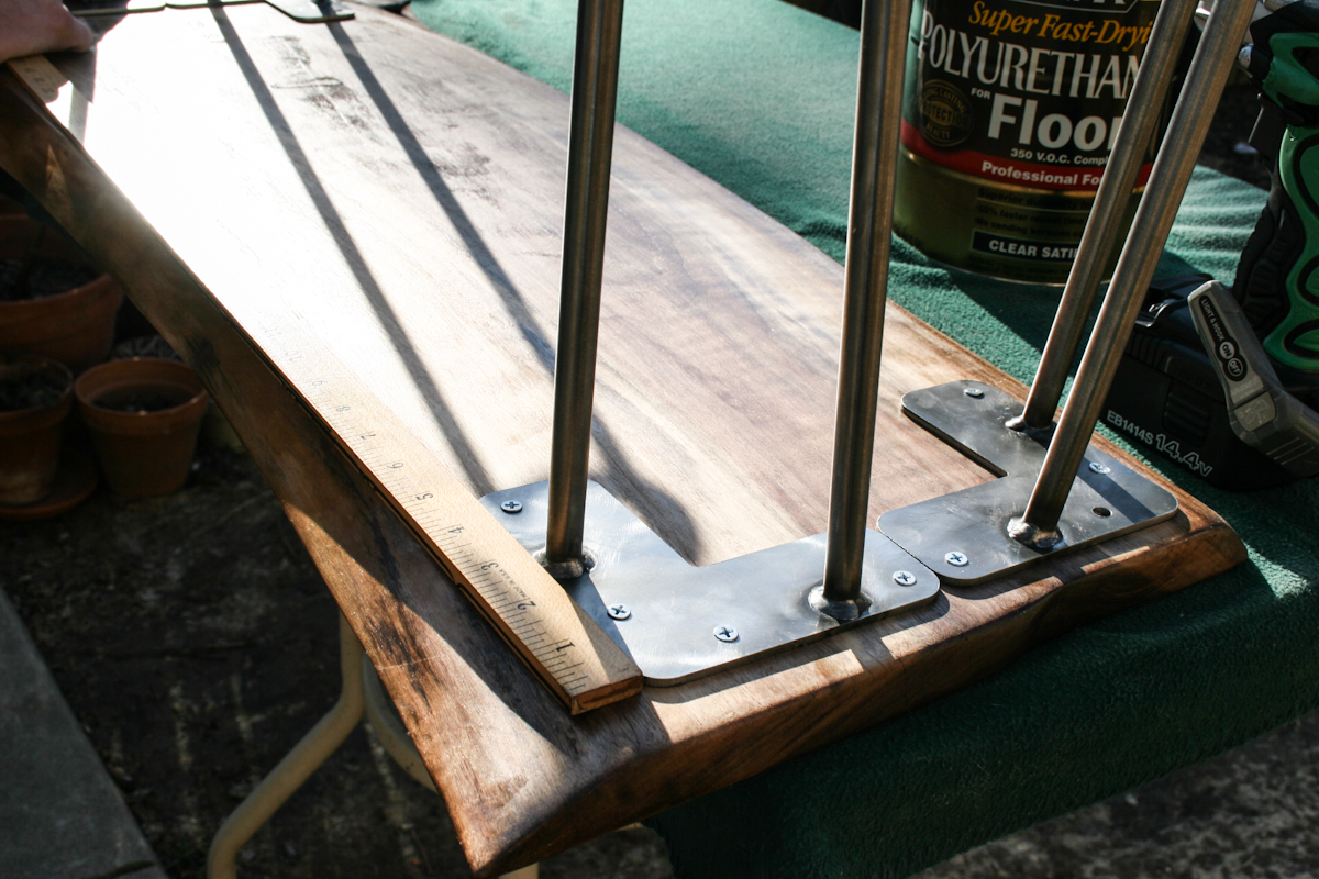 adding hairpin legs to a wood slab coffee table