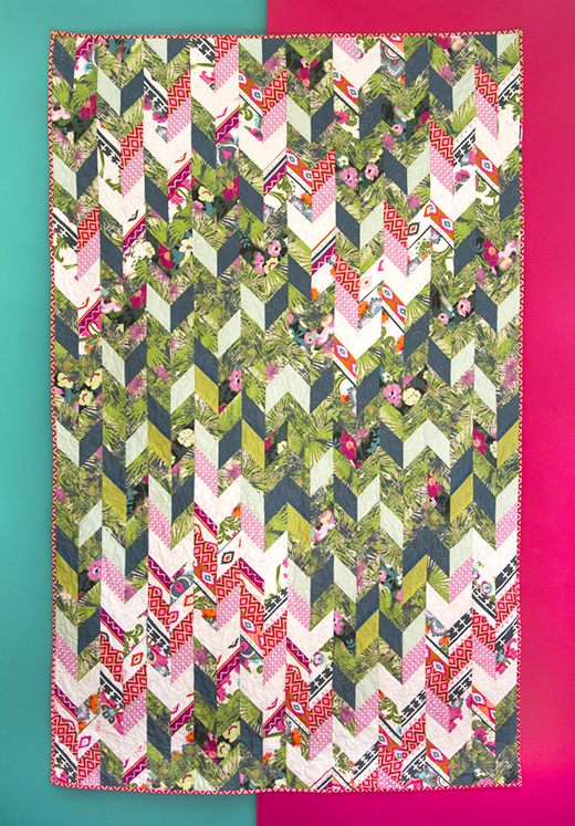 Vertical Garden Quilt Free Pattern designed by Live art gallery fabrics, featuring Rainforest Collection