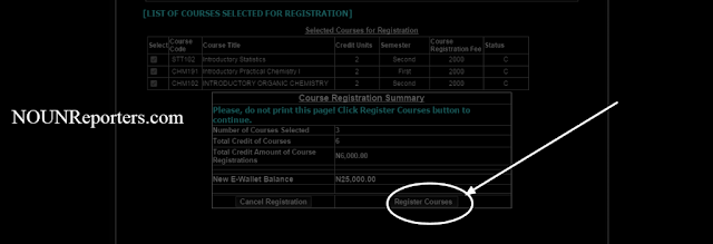Tick on the Courses you want to register for examination and click on register courses