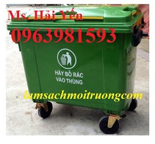 Xe gom rác 660 lít, xe đẩy rác tay, xe thu gom rác thải giá rẻ