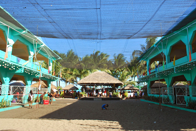 Big pavillions at Villa del Prado beach resort