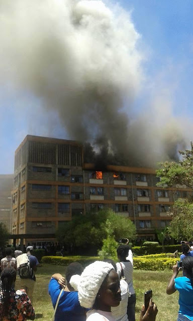 Men's Hostel Razed Down By Huge Fire At Jomo Kenyatta University (Photos)