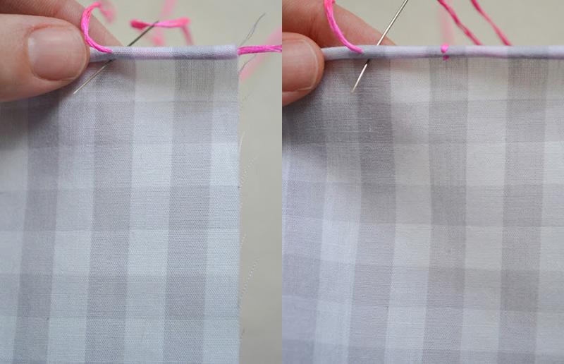 Bordado simples: guardanapo de tecido de barra rolada