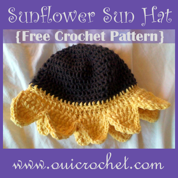 Crochet, Free Crochet Pattern, Crochet Hat Pattern, Sunflower Hat, Crochet Sunflower Hat,