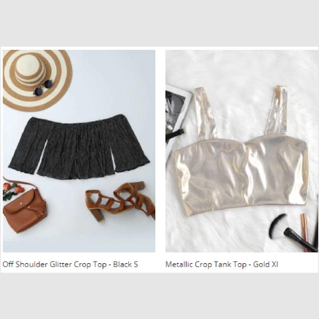 Moda, dica do dia, fashion blogger, moda 2018, tops metalizados, loja zaful, Zaful, lojas internacionais, dicas de lojas, tops, saias,