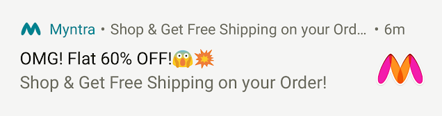 Notification from Myntra
