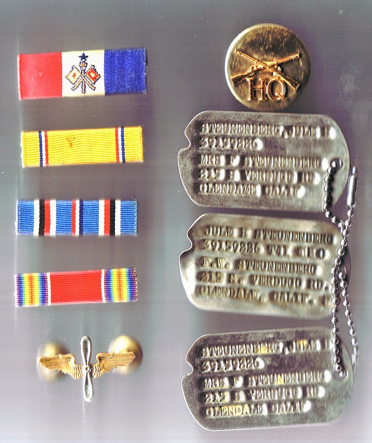 Dog tags, ribbons & pins.