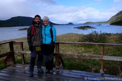 Fin del Mundo en Bahia Lapataia, Parque Nacional Tierra del Fuego, Ushuaia, Argentina.
