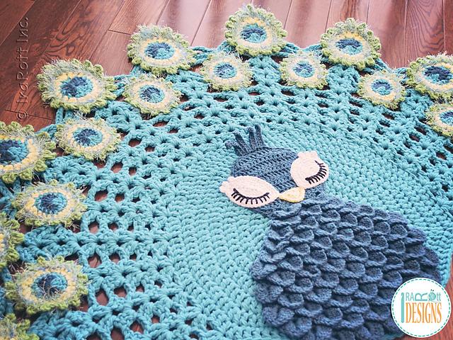 Pavo the peacock rug crochet pattern free