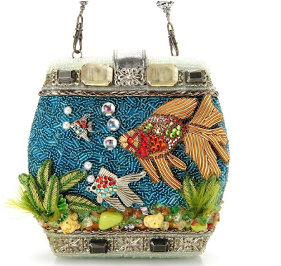 Unusual hand beaded statement fish purse