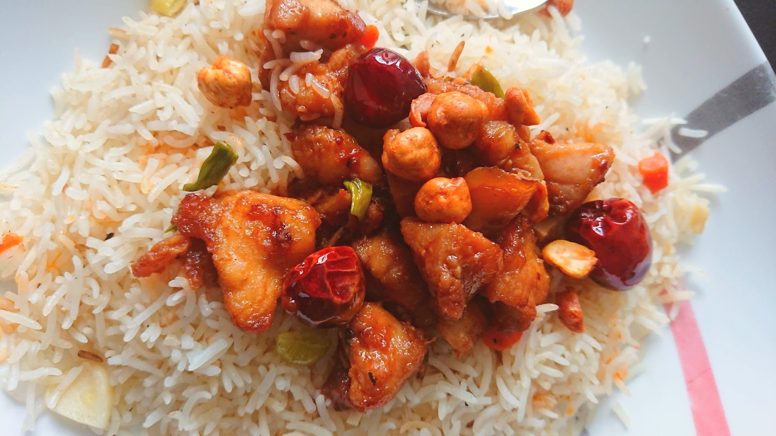 Kung Pao Chicken with Roasted Chickpeas on rice