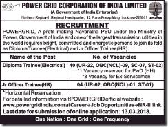 POWERGRID Recruitment 2018 Short Notice