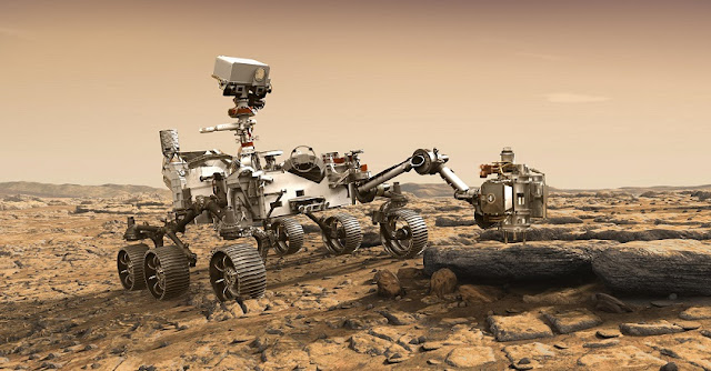 This artist's rendition depicts NASA's Mars 2020 rover studying a Mars rock outrcrop. Image credit: NASA/JPL-Caltech
