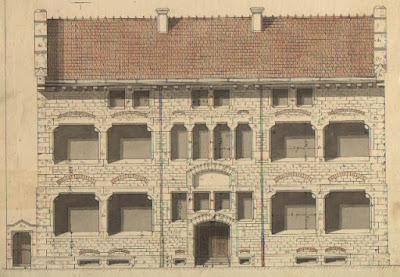 Plan, aquarelle de la façade de la maison d'école de Montceau par Dulac, collection Pirou